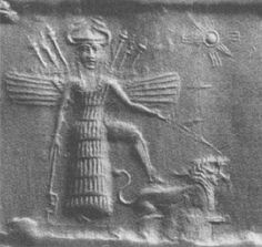 "Inanna goddess of love and war, with a lion. Inanna illustrates her dual nature as a goddess of love, ""showing some leg""; while the lion, the weapons of battle rising up behind her. The eight-pointed star (Venus) symbol associated with her."