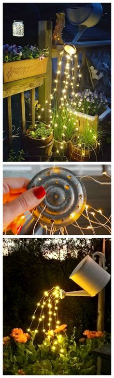 How to make a glowing watering can with fairy lights ~ So beautiful and so easy … - Diy Garden Projects Diy Garden, Garden Crafts, Garden Projects, Garden Art, Balcony Garden, Summer Garden, Diy Projects, Diy Crafts, Deco Nature