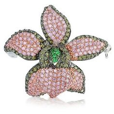 Bling Jewelry Orchid Rapture Pin ($67) ❤ liked on Polyvore featuring jewelry, brooches, brooches-and-pins, pink, pins brooches, pink pendant, heart shaped pendant, pendant jewelry, pin jewelry and heart brooch