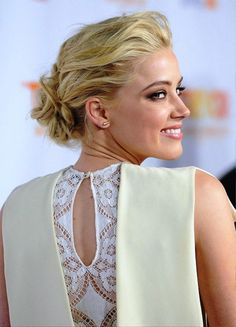 Amber Heard Low Casual Loose Bun Updo pictures, update your look with Updo Hairstyles at Behairstyles.com