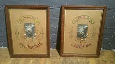 A pair of Victorian Religious Samplers in Oak frames, beautiful photos  folk art