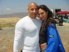 vin diesel and gal gadot | Gal Gadot with co-star Vin Diesel at Fast and Furious set.
