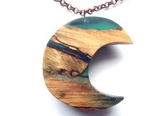 Wood and Resin Moon Necklace Carved Wood by GlenoutherCrafts