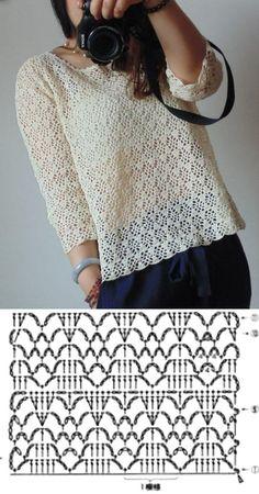 +11 modelos e ponto de crochê para blusas T-shirt Au Crochet, Beau Crochet, Pull Crochet, Crochet Motifs, Crochet Cardigan Pattern, Crochet Shirt, Crochet Jacket, Crochet Diagram, Crochet Woman