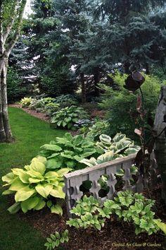 .garden shade garden by pond