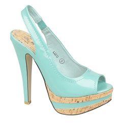 Anne Michelle Ladies Blue high heel platform peep toe slingback shoe