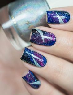 Galaxy nail art & holographic triangles