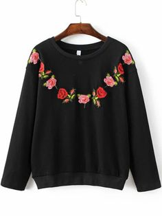 SheIn offers Black Floral Embroidery Ribbed Trim Sweatshirt & more to fit your fashionable needs. Sweat Shirt, Dress Outfits, Cool Outfits, Embroidered Sweatshirts, Sweatshirt Dress, Mode Style, Pattern Fashion, Beautiful Outfits, Hooded Sweatshirts