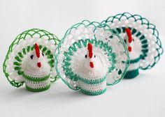Easter home decor - 3 CROCHET COCK chicken hen - eggs decorating basket decor spring home decorations. $18.00, via Etsy.