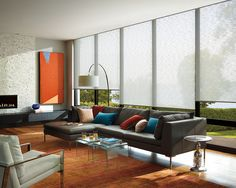 More information about the window treatments from Hunter Douglas that we carry. Hunter Douglas makes a variety of stylish and functional window treatments. Hunter Douglas, Window Treatments Living Room, Living Room Windows, Home Living Room, Persiana Sheer Elegance, Grey Leather Sectional, Interior Window Trim, Solar Shades, Kitchens