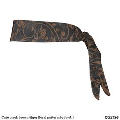 Cute black brown tiger floral pattern tie headband Train Like A Beast, Sweat Out, Tie Headband, Black And Brown, Your Hair, Oc, Floral, Cute, Fabric