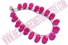Fushcia Pink Chalcedony Faceted Pear Quality AAA by beadsogemstone, $18.00