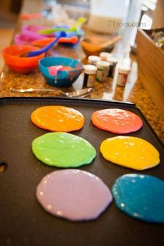 Make colorful pancakes!!! My kids would get a kick out of this!!! Just place batter in separate bowls and place a few drops of food coloring.
