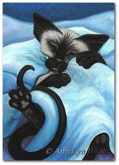 Siamese Cat Sleeping Snug Pet ArT - Art Prints or ACEOs by Bihrle ck412