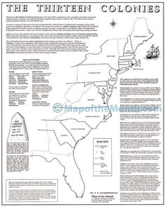 Thirteen Original Colonies Map - Primary Worksheet - Free ...