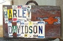 Harley Davidson License Plate Barn Wood hand Crafted Man Cave Sign Misc Plates