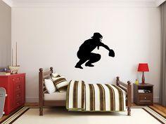 """Baseball Player Wall Decal - 27"""" x 30"""" Baseball Player Silhouette Vinyl Decal - Baseball Player 14"""