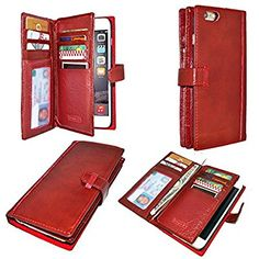 Artech 21 WalletPro New York Series Phone 6 Plus Case --Premium Full Grain Leather Case for Apple Iphone 6 Plus [Fits only Huge 5.5 iPhone 6 plus ,not 4.7 inch iPhone 6]-- Premium Nature Vegetable Tanned Leather , Retro Book Stlye , Wallet Case with Id Slots and Cash Pockets (WineRed-WAlletpro-6plus)