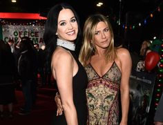 Katy looked elegant in black next to Jen in statement patterns