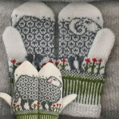 """Ravelry: Sheep mittens by Jorid Linvik. These are so cute, would make me """"crazy"""" making though. Knit Mittens, Mitten Gloves, Knitting Socks, Hand Knitting, Knitted Mittens Pattern, Knitted Hats, Knitting Patterns, Crochet Gloves, Fair Isle Knitting"""