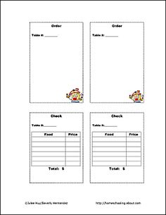 Free Printable Help Children Engage in Pretend Restaurant Play: Let's Play Restaurant - Order Sheets and Checks