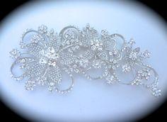 Floral Bridal Large Rhinestone Brooch // Long Flower Crystal Brooch // Large Wedding Brooch // Bridal Accessory // Ribbon Floral Brooch $52.99