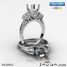 3 Stone Pear Round Diamond Wedding Antique Ring Semi Mount 14k White Gold 1.21C