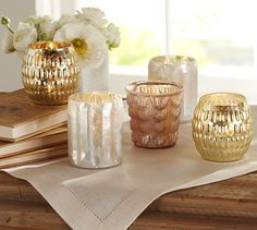 Votives that sparkle when illuminated with candlelight.