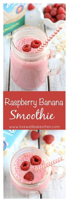 An easy and delicious smoothie filled with fresh fruit almond milk Greek yogurt and other good for you ingredients This Raspberry Banana Smoothie makes a perfect healthy breakfast or snack ad breakfastsmoothie Smoothies Banane, Raspberry Banana Smoothie, Breakfast Smoothie Recipes, Fruit Smoothie Recipes, Yogurt Smoothies, Healthy Breakfast Smoothies, Yummy Smoothies, Fruit Recipes, Breakfast Fruit