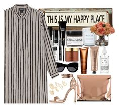 """""""This is my happy place"""" by galpaian-elisa ❤ liked on Polyvore featuring Poncho & Goldstein, Topshop, Bobbi Brown Cosmetics, Karen Walker, River Island, Monki, MM6 Maison Margiela, Estée Lauder, Clarins and Josie Maran"""