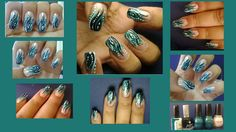 Teal nails... Cute teal nail art which would be ideal for Graduation :)