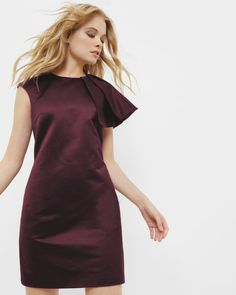 Frilled shoulder tulip dress - Deep Purple | Dresses | Ted Baker UK