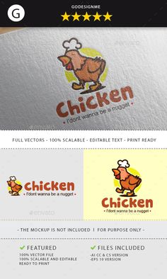 Chicken Chef Logo Design Template - Animal Logo Design Template Vector EPS, AI Illustrator. Download here: https://graphicriver.net/item/chicken-chef-logo/18704469?ref=yinkira