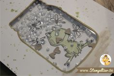 shaker card Stempeltier 1 glasklare Grüße und Love you lots Frosch von Stampin Up everyday Jars framelits fireflies rocailles