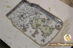 shaker card Stempeltier 1 glasklare Grüße und Love you lots Frosch von Stampin Up everyday Jars framelits fireflies rocailles