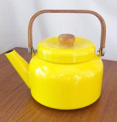 RESERVED   Bright Yellow Vintage Enamel Teapot Mid Century Treasury Item