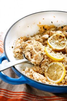 Lemon Garlic Chicken and Rice One-Pan Skillet - Lexi's Clean Kitchen