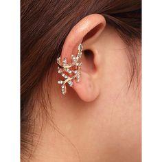 Gold Rhinestone Leaf Shape Ear Cuff ($3.90) ❤ liked on Polyvore featuring jewelry, earrings, rhinestone earrings, leaf earrings, gold earrings, gold leaf earrings and leaf ear cuff