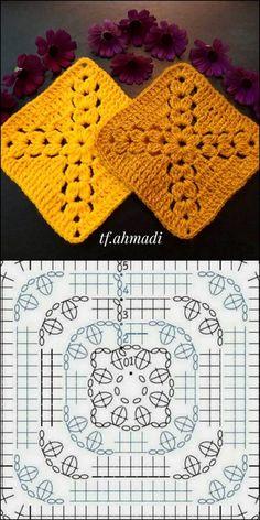 Most current Images crochet designs ideas Thoughts Best Mat crochet design idea Motifs Granny Square, Granny Square Crochet Pattern, Crochet Diagram, Crochet Squares, Crochet Blanket Patterns, Crochet Stitches, Knitting Patterns, Granny Squares, Cross Stitches