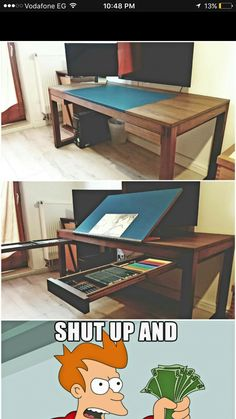 Woodworking tips building furniture,woodworking creative diy ideas ideas.Woodworking clamps projects,woodworking desk tutorials,woodworking quotes heart and wood working shop decor ideas. Cool Ideas, Diy Ideas, Decor Ideas, Bureau D'art, Wood Projects, Woodworking Projects, Woodworking Classes, Woodworking Equipment, Woodworking Desk