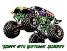 Monster Truck Grave Digger Edible Cake by TwoSweetCakeImages, $8.99
