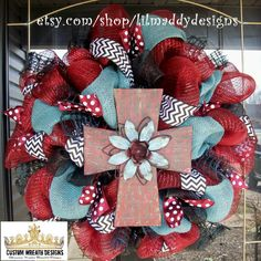 Burlap and Chevron Wood Cross Wreath by lilmaddydesigns on Etsy, $105.00