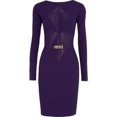 Versace Collection Belted ribbed stretch-knit mini dress ($240) ❤ liked on Polyvore featuring dresses, violet, slip on dress, ribbed dress, short purple dresses, belted dresses and short dresses