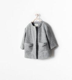 CREW-NECK SHORT COAT WITH SNAPS
