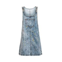Paint Splatter Pinafore Dress by Glamorous ($49) ❤ liked on Polyvore featuring dresses, blue, glamorous dresses, cotton dresses, long sleeve dress, blue pinafore dress and long sleeve striped dress