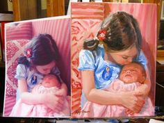 """Maggie and the New Baby"" by Missouri Artist Kay Crain Childrens' Portraits from your photos. Oil on canvas 12x9 www.kaycrain.com"