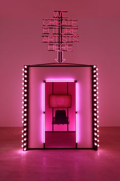 """Pink neon light art installation byWang Xin, with text reading, """"We create future artists here. Future Artist, Neon Rose, Tout Rose, Light Installation, Art Installations, Neon Lighting, Light Art, Pink Aesthetic, Retail Design"""