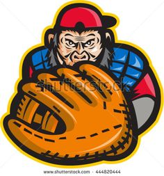 Illustration of chimpanzee baseball player catcher with glove in front set on isolated white background done in retro style.  - stock vector #baseball #cartoon #illustration