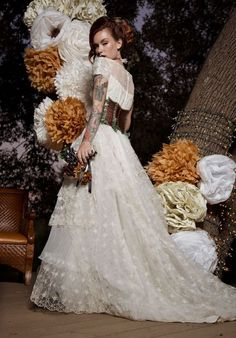 09 ruffle and lace Victorian wedding dress with a leather corset - Weddingomania Steampunk Wedding, Leather Corset, Flower Girl Dresses, Victorian, Wedding Dresses, Lace, Collection, Style, Skirt