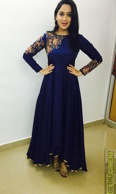 Bright and colourful, this Dark Blue Silk Anarkali Gown which will instantly catch your fancy. This Round neck and Full Sleeves apparel adorned with resham, zari and stone work. Designer Party Wear Dresses, Indian Designer Outfits, Indian Outfits, Mehendi Outfits, Designer Clothing, Indian Gowns Dresses, Pakistani Dresses, Stylish Dresses, Fashion Dresses